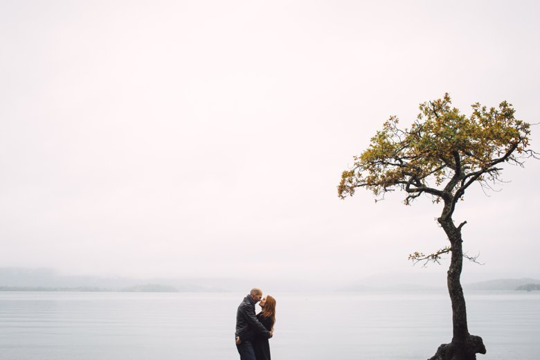 Come rain or shine, Loch Lomond Engagement | Rhona and Will