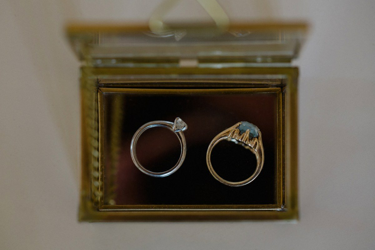 Wedding and engagement rings displayed in box