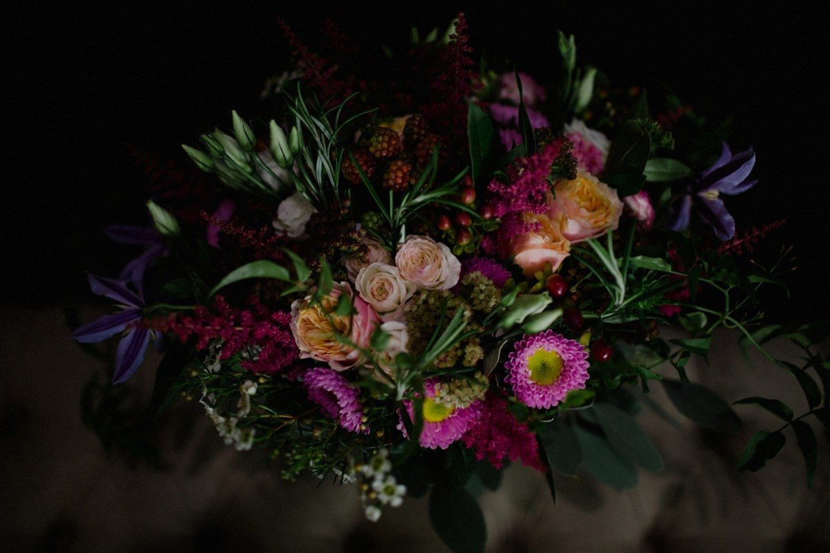 Woodland themed flowers with pops of colour