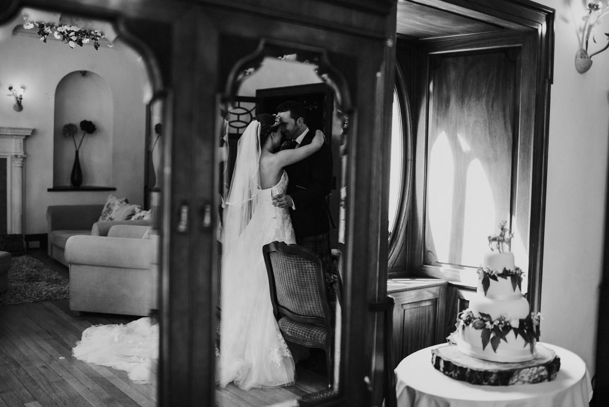 black and white of hidden moment after the ceremony