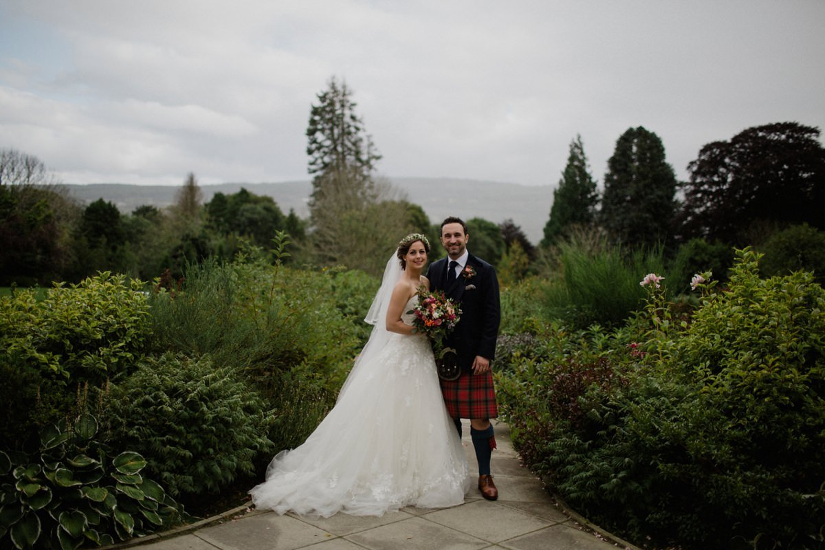 Portrait of Bride and Groom in the gardens at Achnagairn Castle