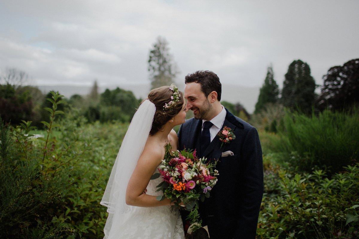 Bride and Groom Portrait in gardens at Achnagairn Estate