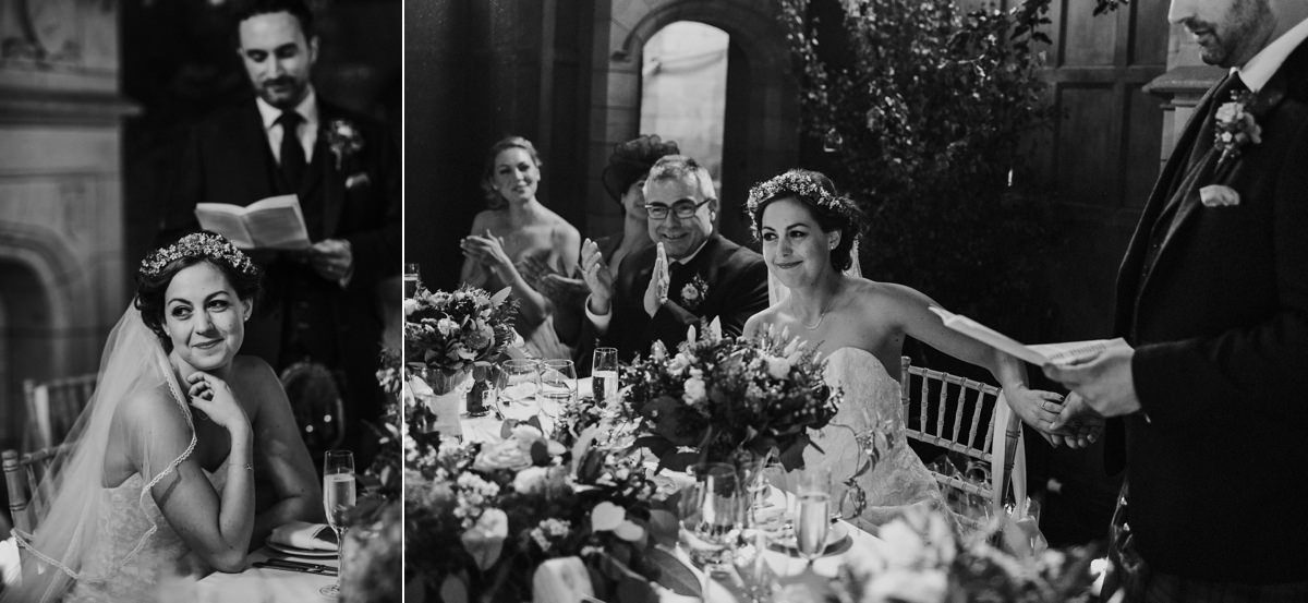black and white of emotional bride during speeches