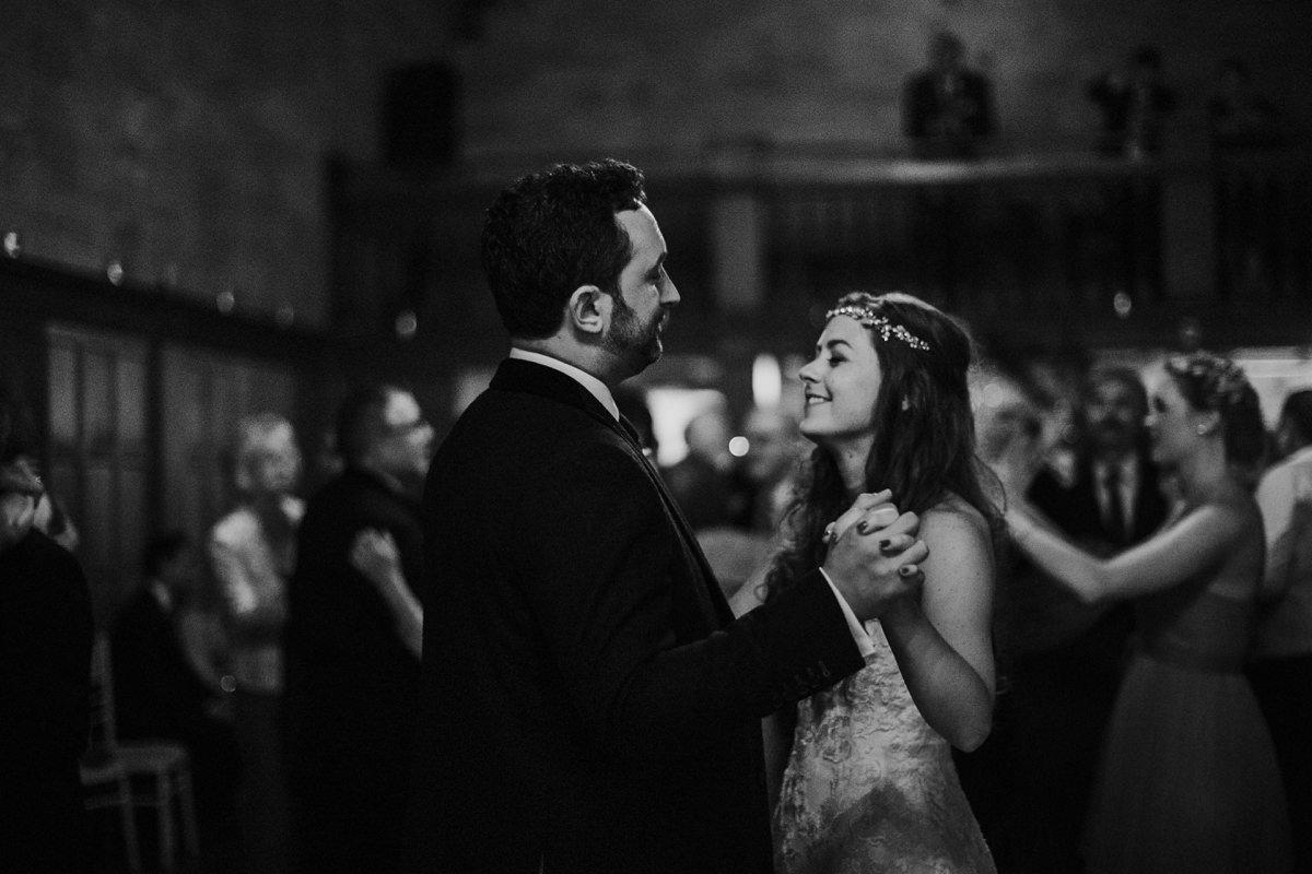 romantic closeup of bride and groom dancing