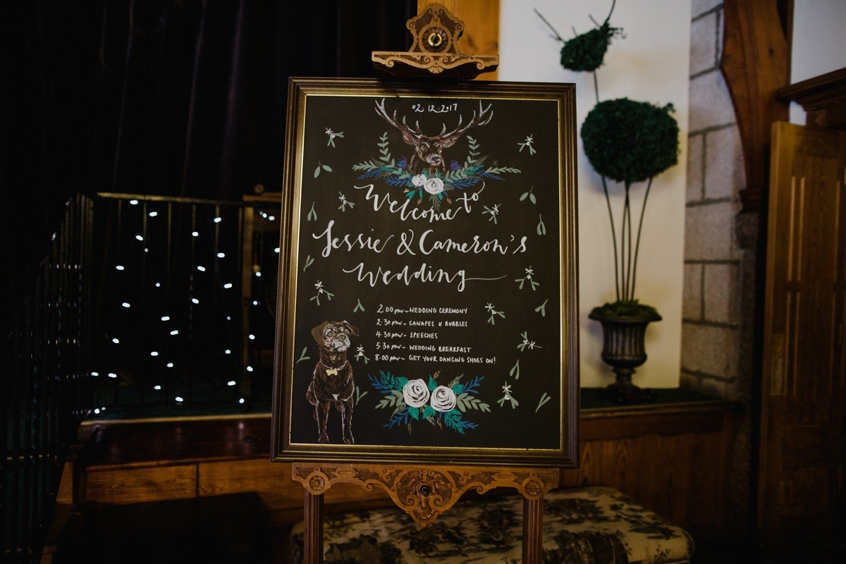 Hand painted wedding welcome sign with order of the day and portrait of couple's dog