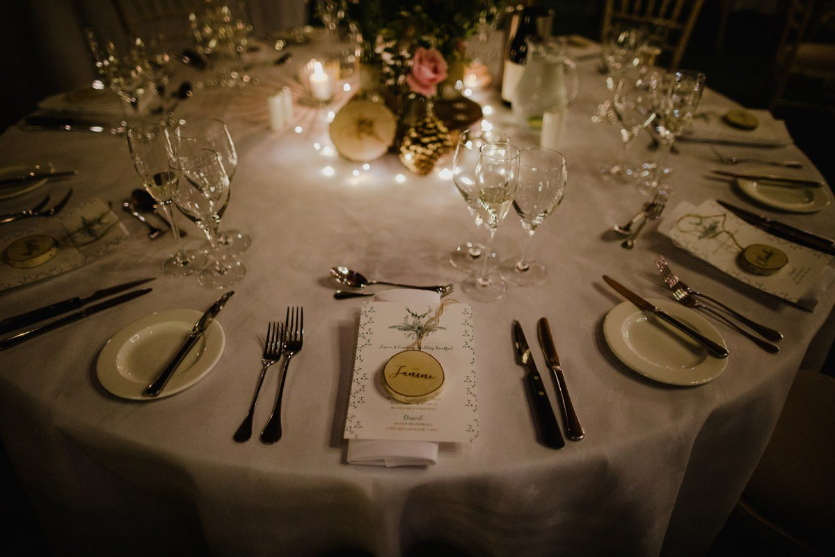 Woodland style table setting details