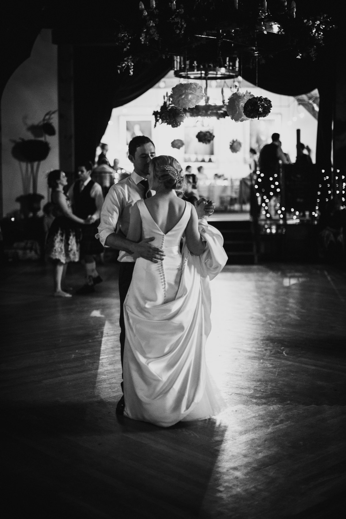 Black and White of Bride and Groom Dancing at Glen Tanar Ballroom