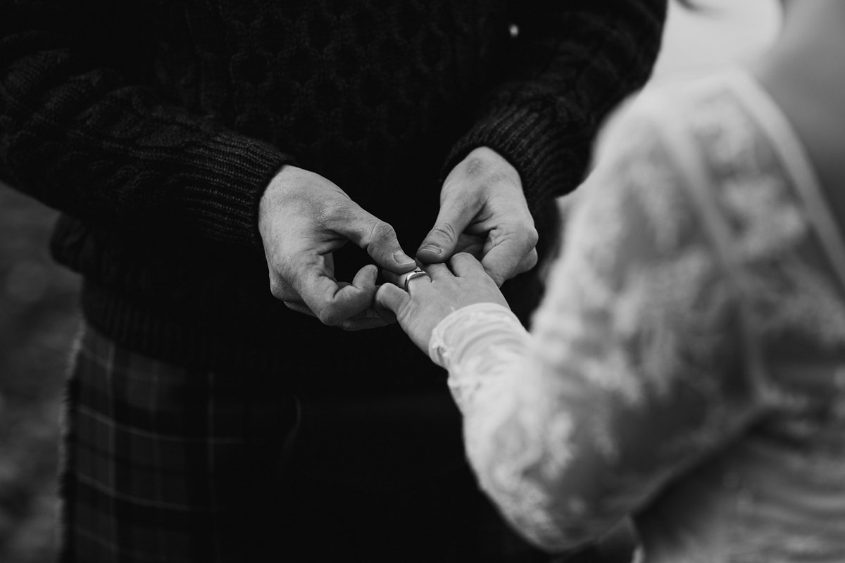 black and white of ring exchange