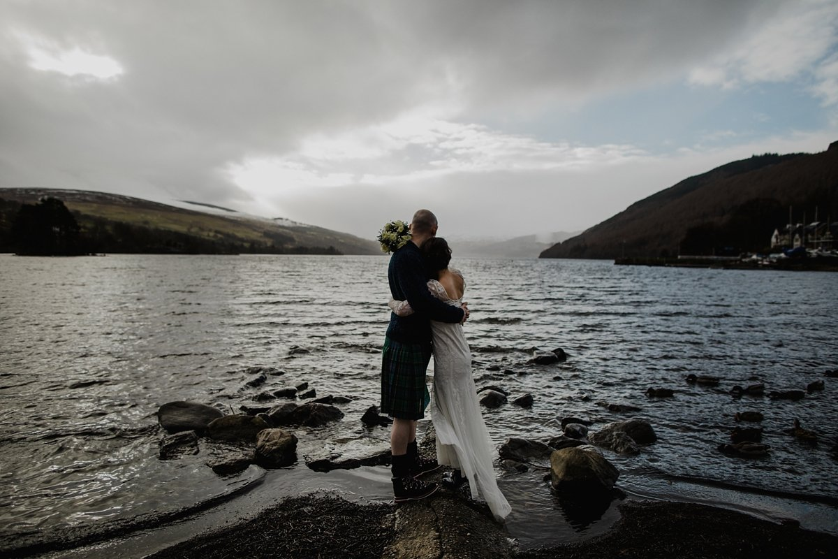 bride and groom enjoying the views over loch tay