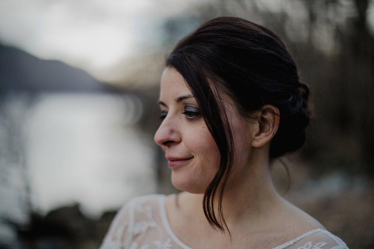 portrait of bride by the water