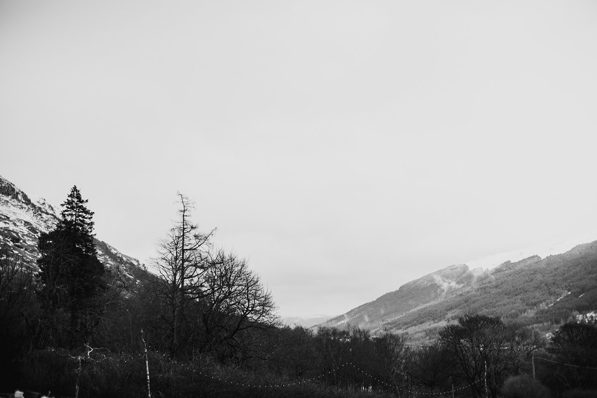 Black and white winter scene of the view from Monachyle Mhor hotel