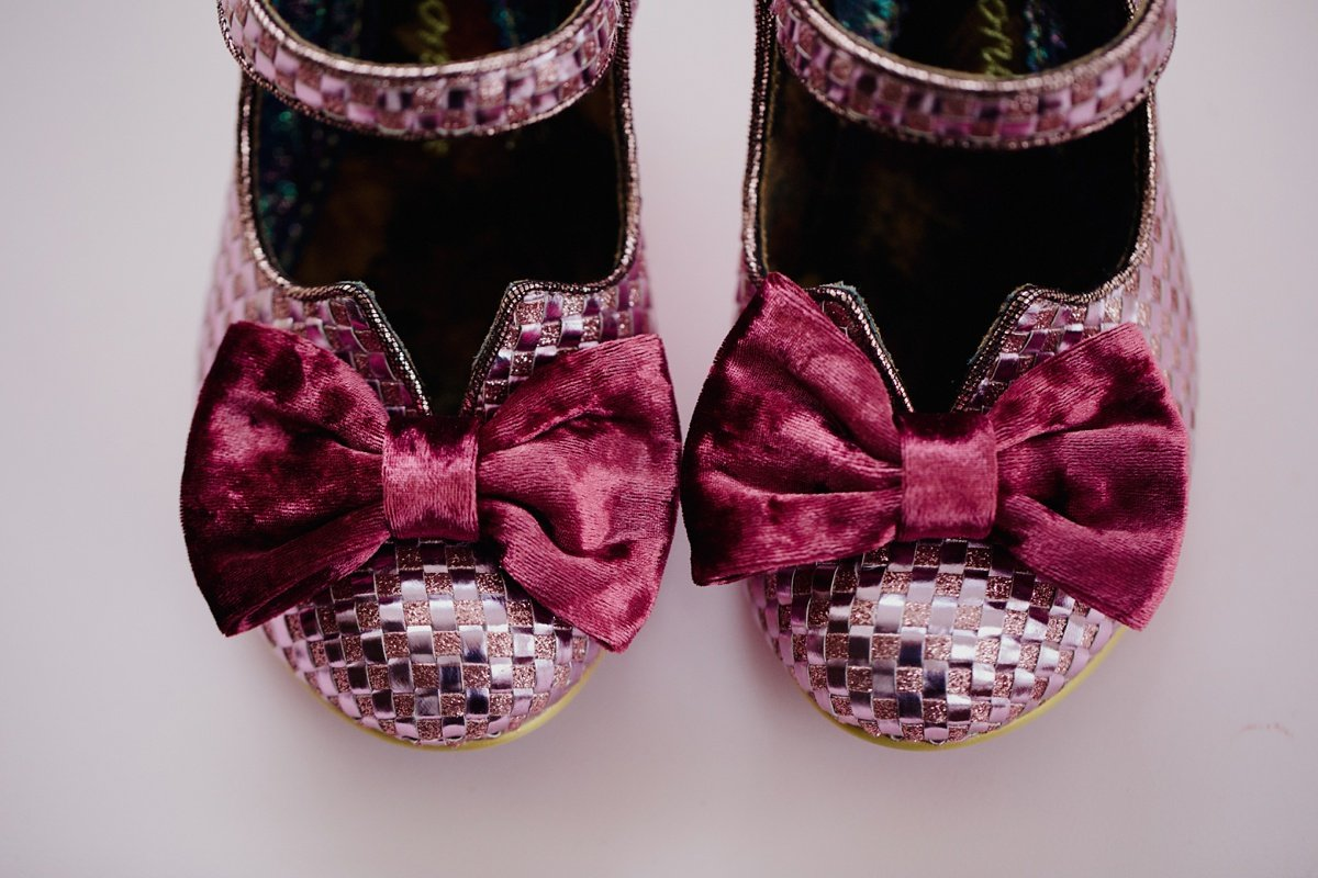 irregular choice pink shoes with velvet bows