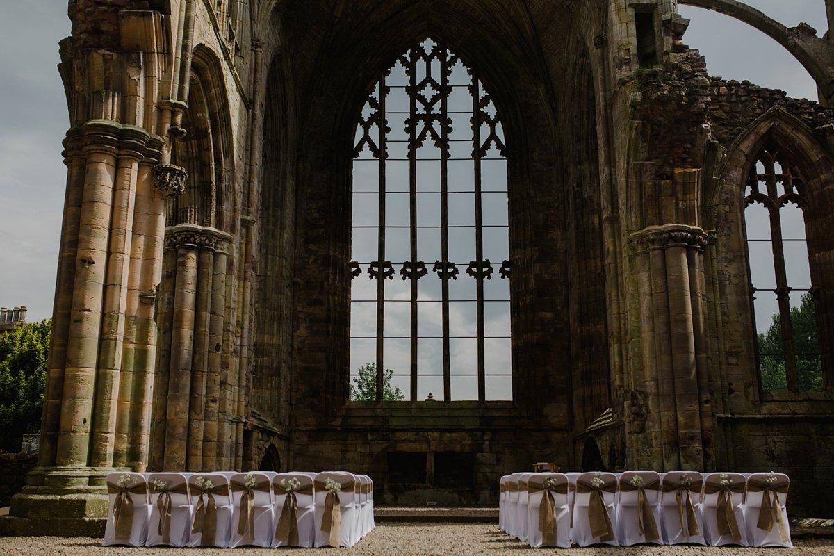 ceremony setup for melrose abbey