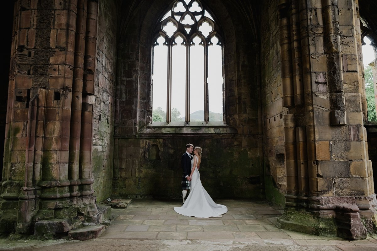 bride and groom couple portraits melrose abbey wedding