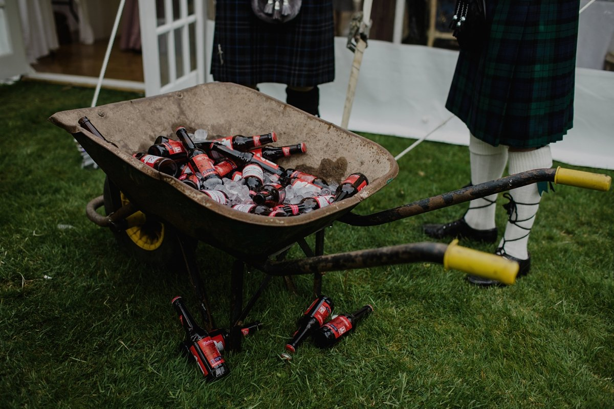 beers in a wheel barrow