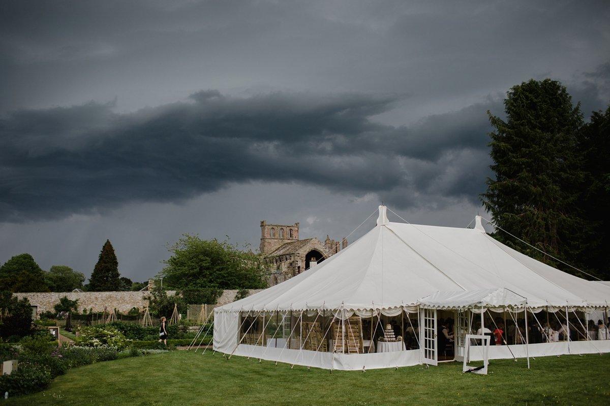 melrose abbey wedding marquee on lawn