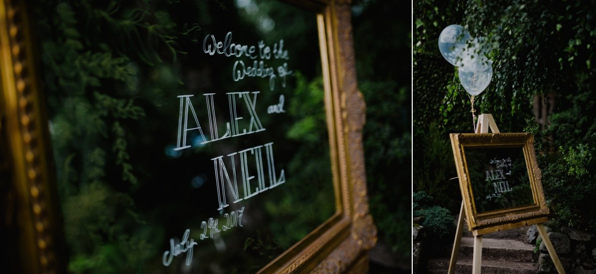 mirrored welcome sign for garden wedding
