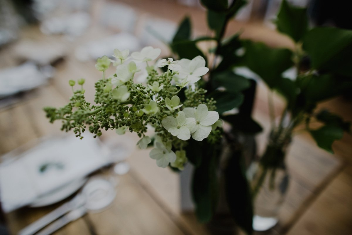 closeup detail of flowers on the table