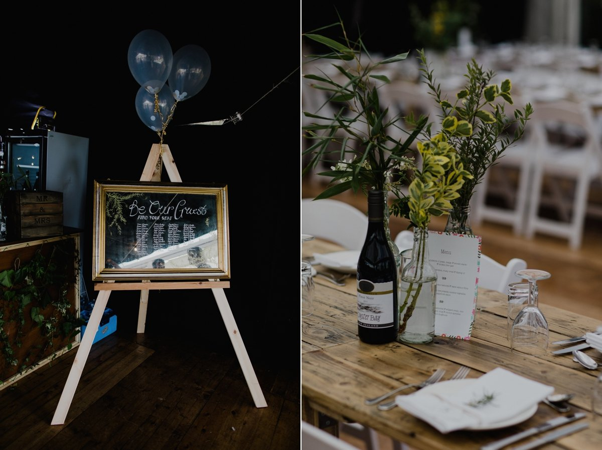 rustic wedding details balloons mirror table plan rustic wooden tables simple greenery