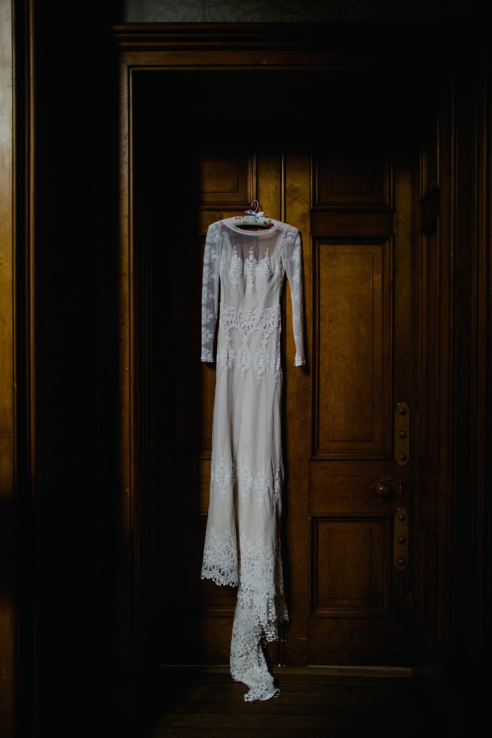 dreamers and lovers wedding dress hanging in cambo house