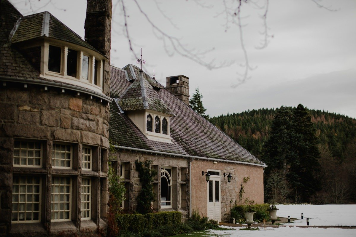 View of the building from the outside at Glen Tanar Ballroom