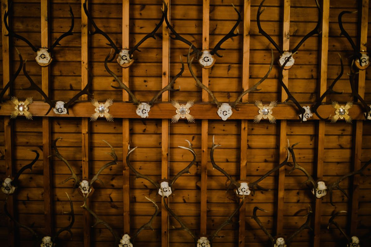 Detail of the ceiling at Glen Tanar Ballroom, covered in Stag horns and skulls