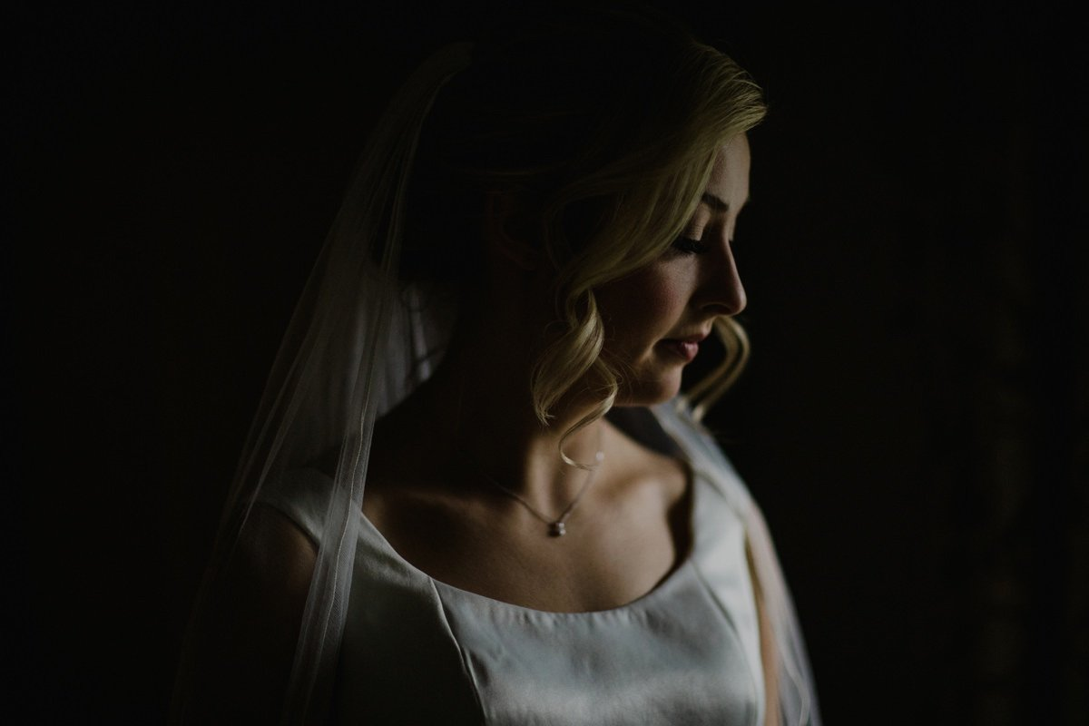 Dark moody portrait of bride with subtle light and shadow