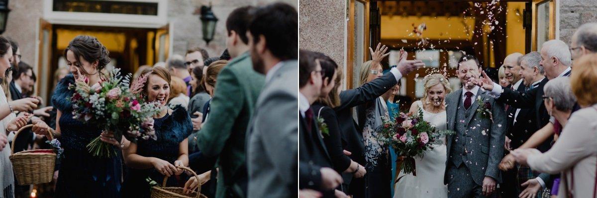 confetti being thrown at Glen Tanar Ballroom