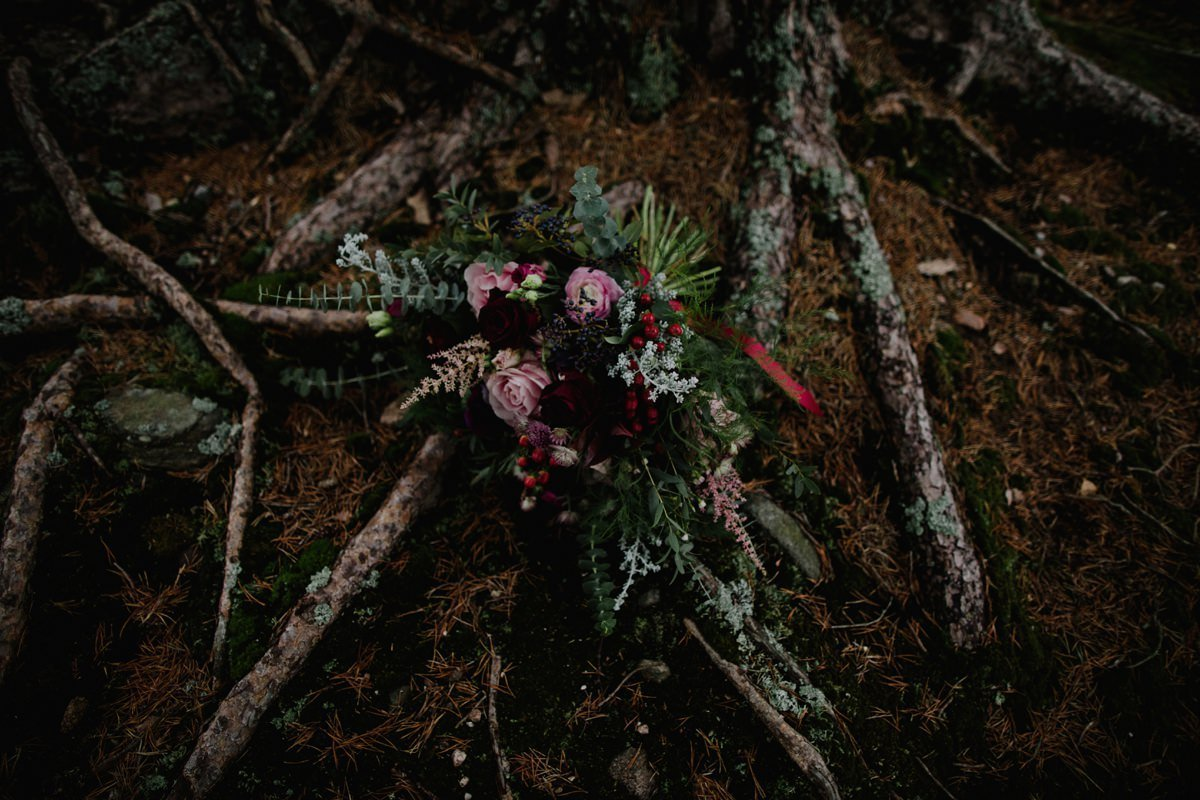 bridal bouquet on the woodland floor