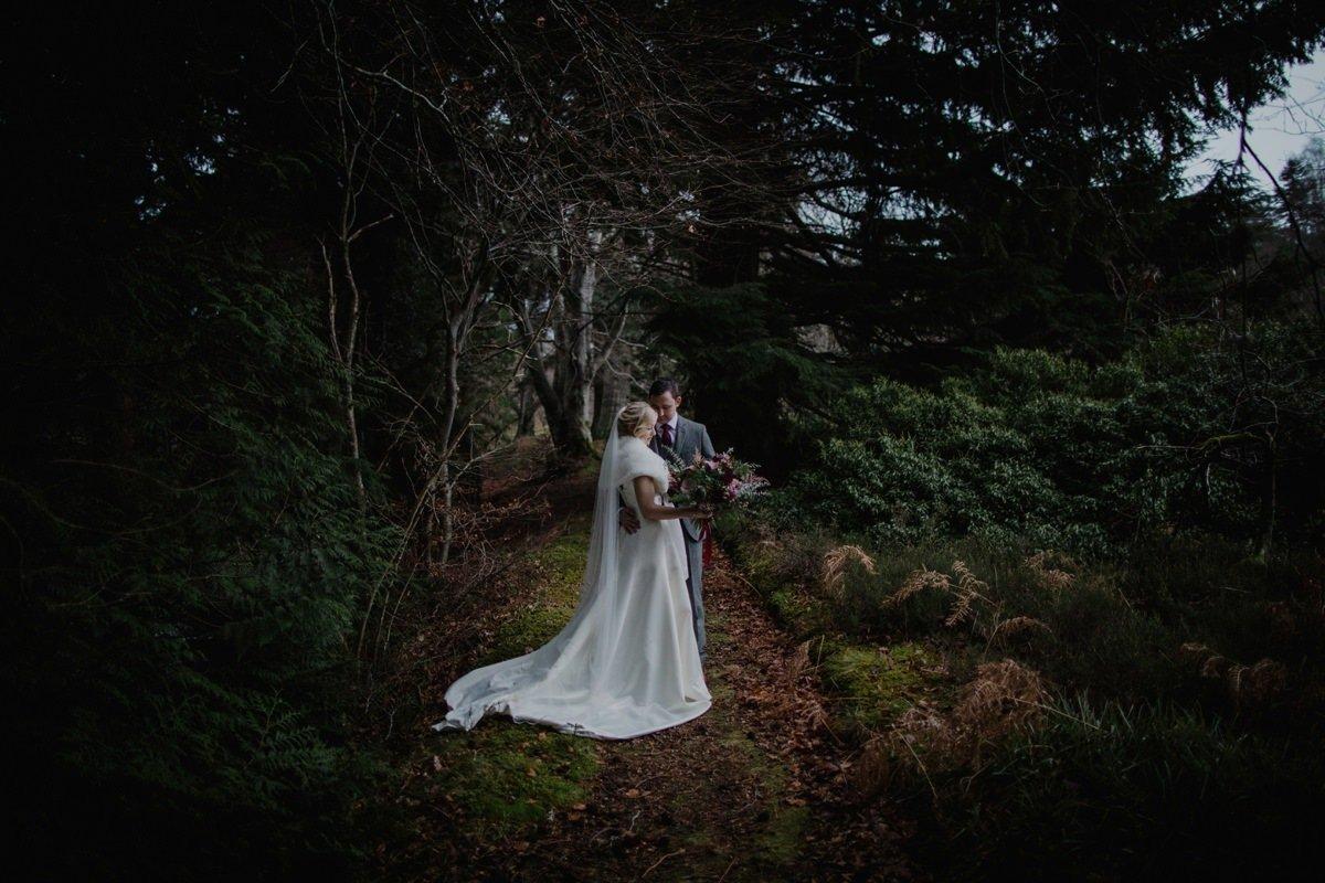 Bride and Groom woodland portrait at Glen Tanar