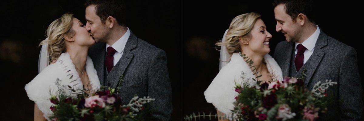 Winter wedding bride and groom portraits