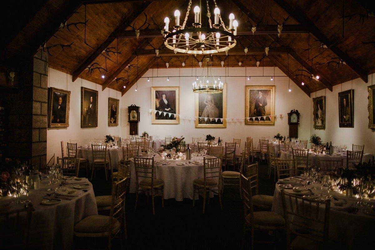 Room set for wedding breakfast at Glen Tanar Ballroom