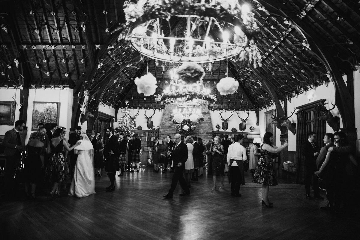Wedding guests enjoying the reception at Glen Tanar Ballroom