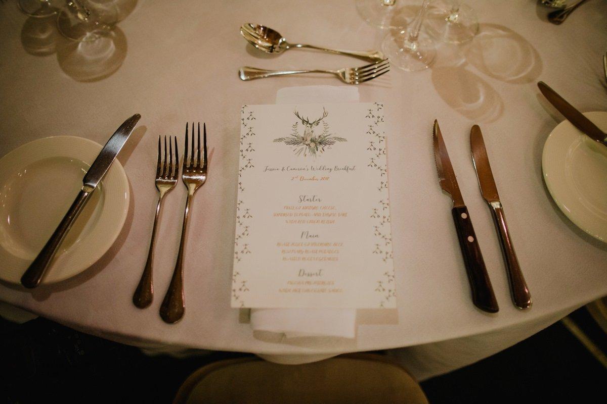Wedding menu stationery detail