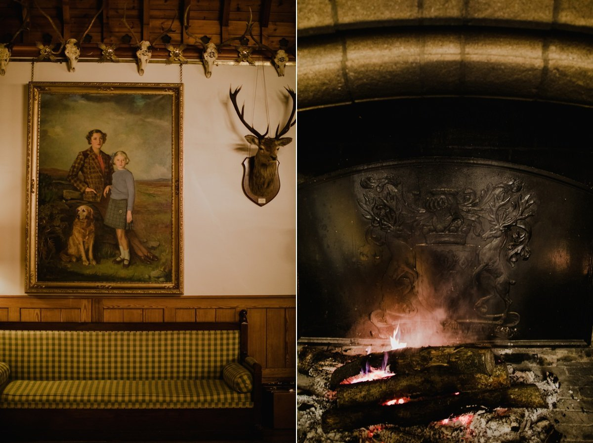Detail shots of fire and painting at Glen Tanar Ballroom