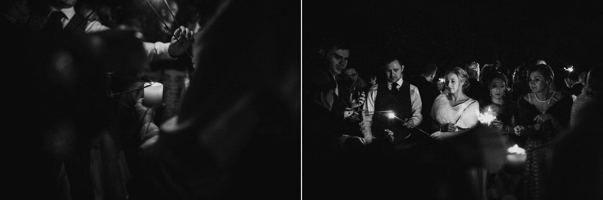 Bride and Groom lighting sparklers