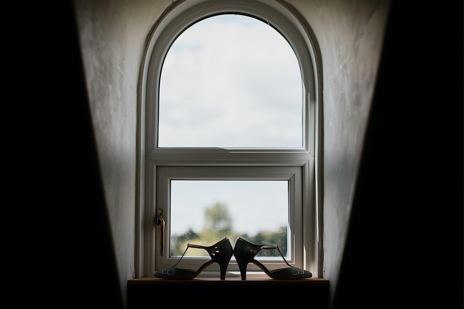 wedding shoes in window