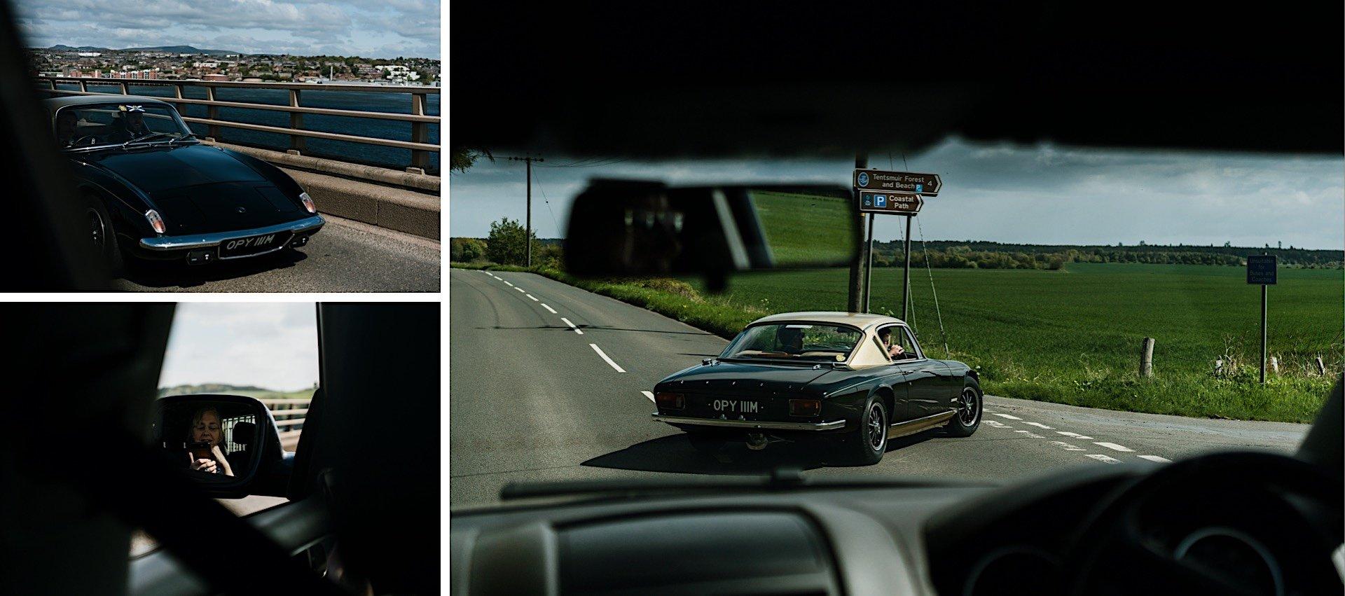 driving on country lane lotus elan in front