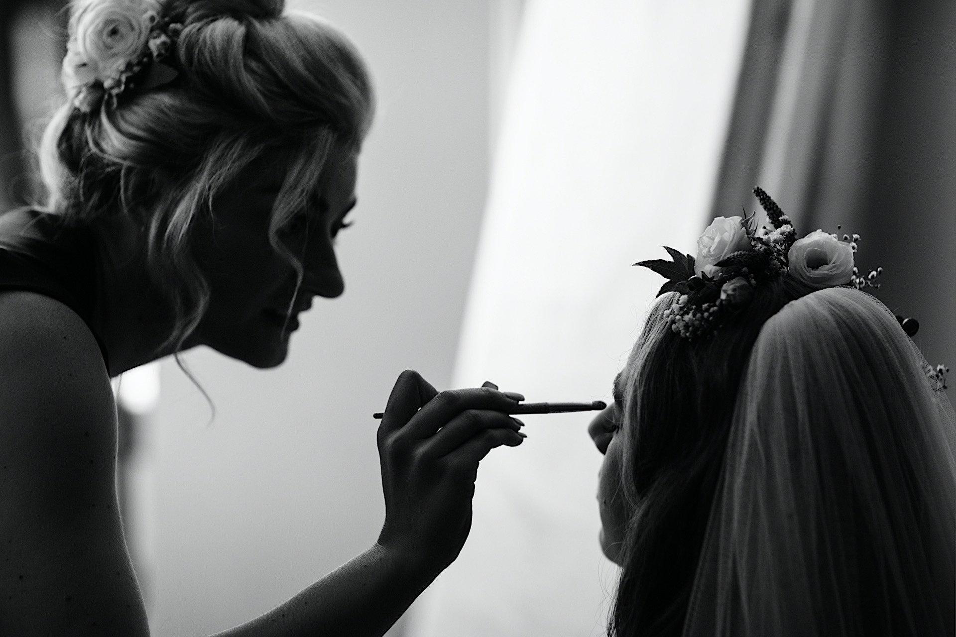 brides bridesmaid makeup