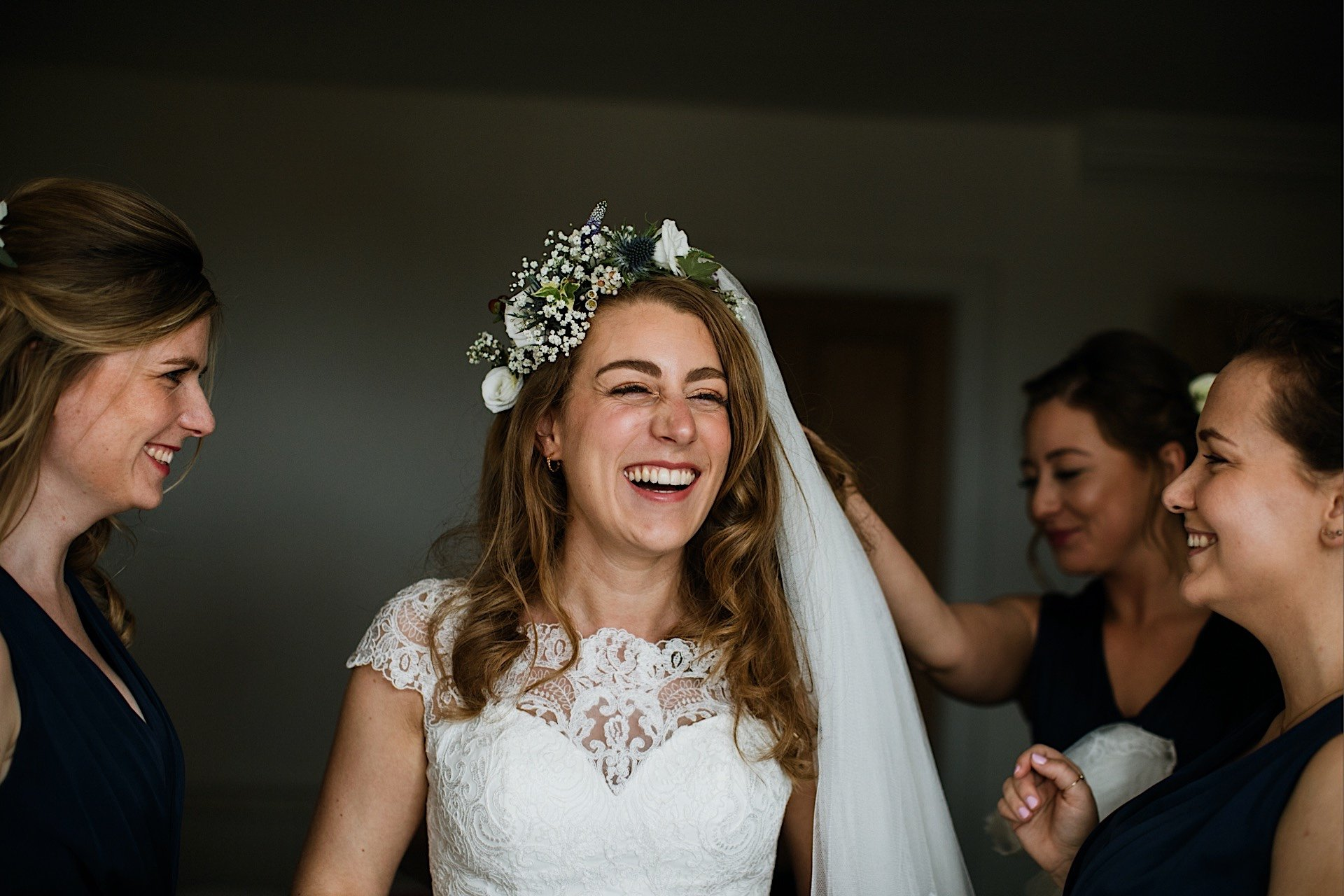 smiling bride With laughing and bridesmaids