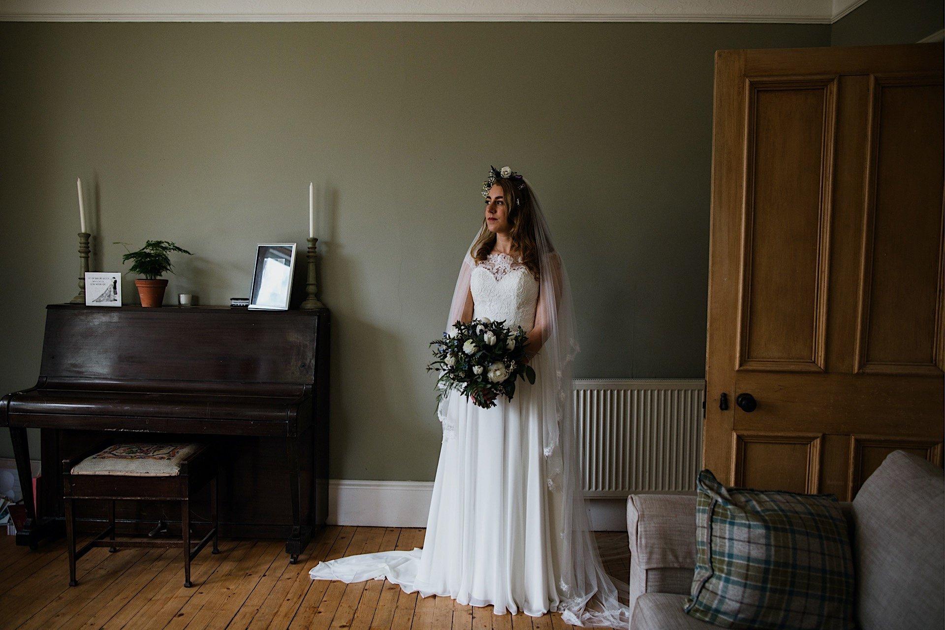 bride at home portrait