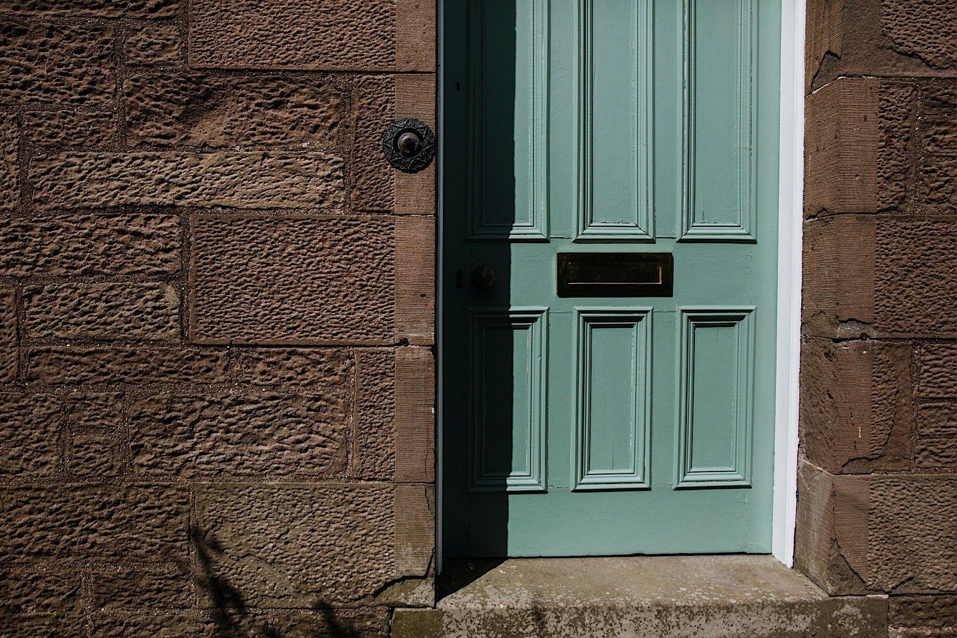 front door of bride's home