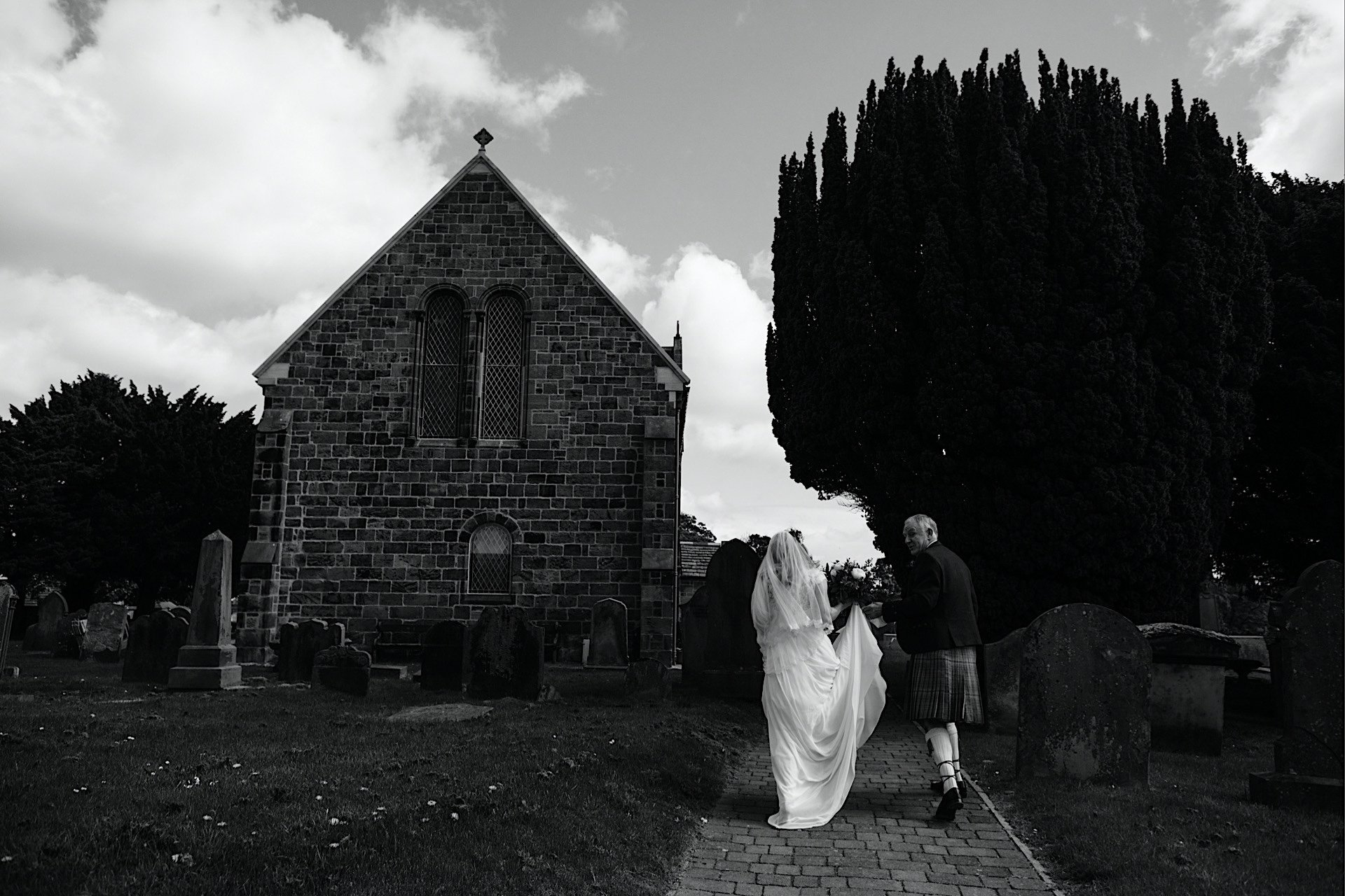 church bride to Walking and father