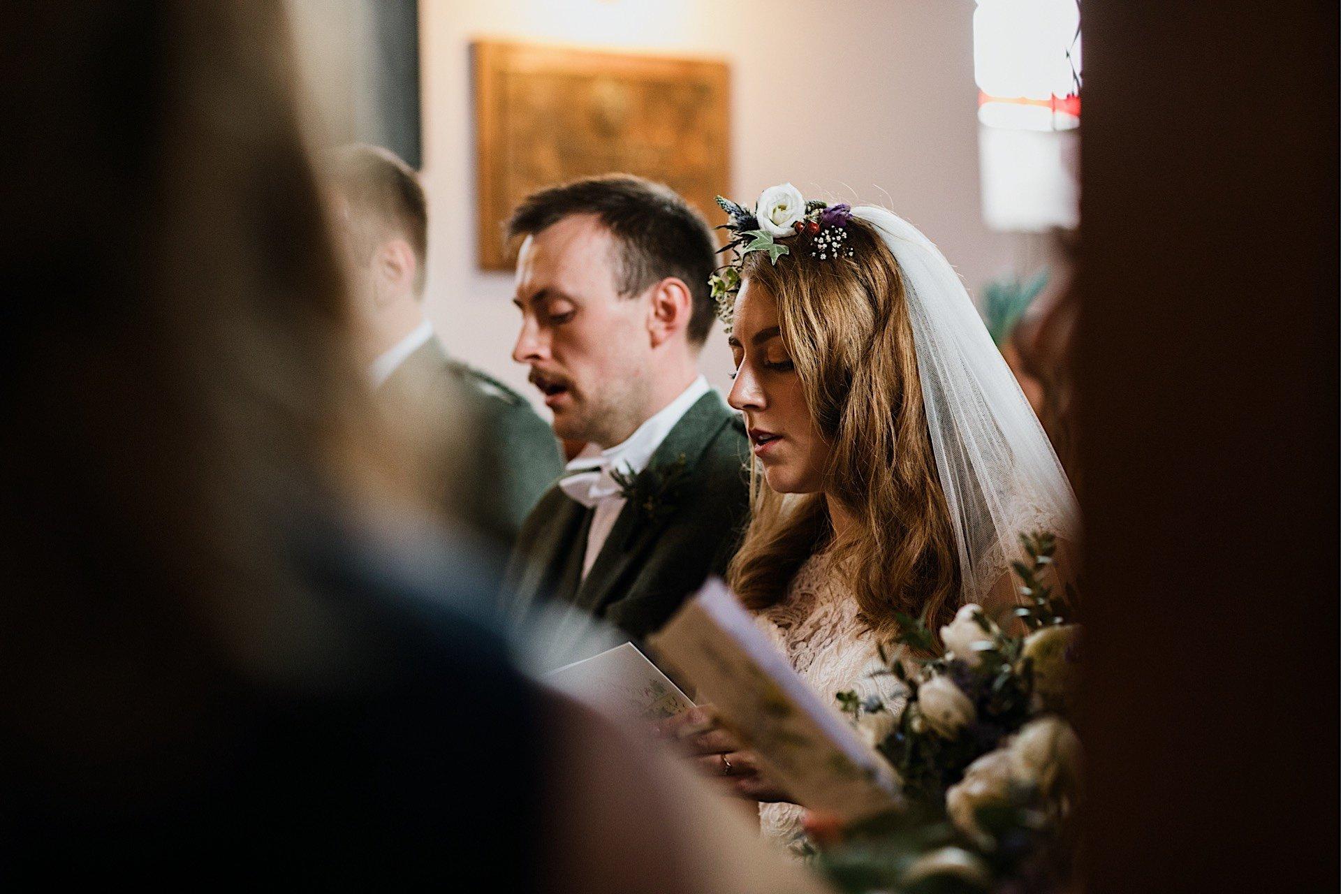 at bride singing groom church and