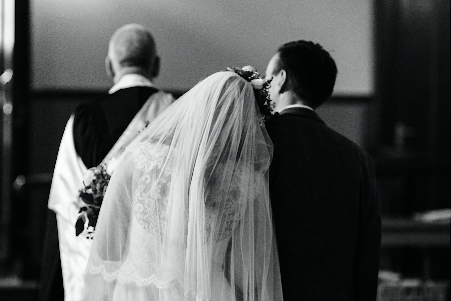 church bride on leaning as grooms shoulder exit the they