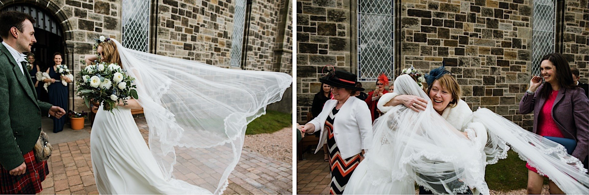 church in outside bride veil blowing guests the hugging Wind brides