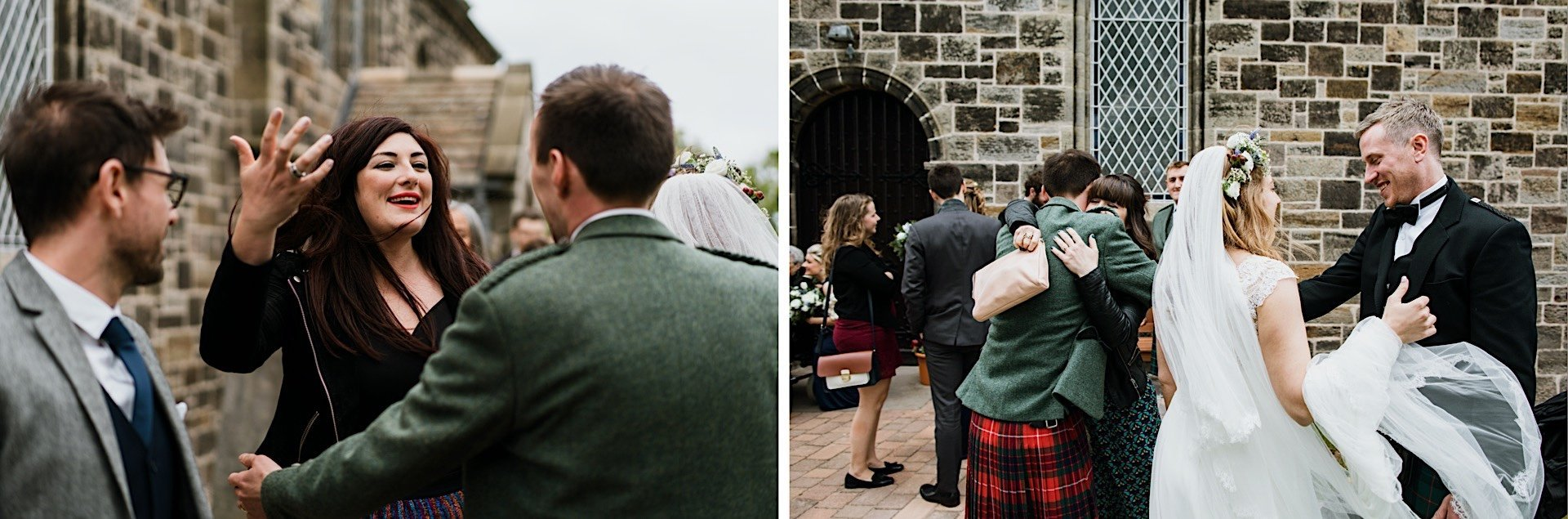 guest congratulating church couple guests Wedding greeting groom outside