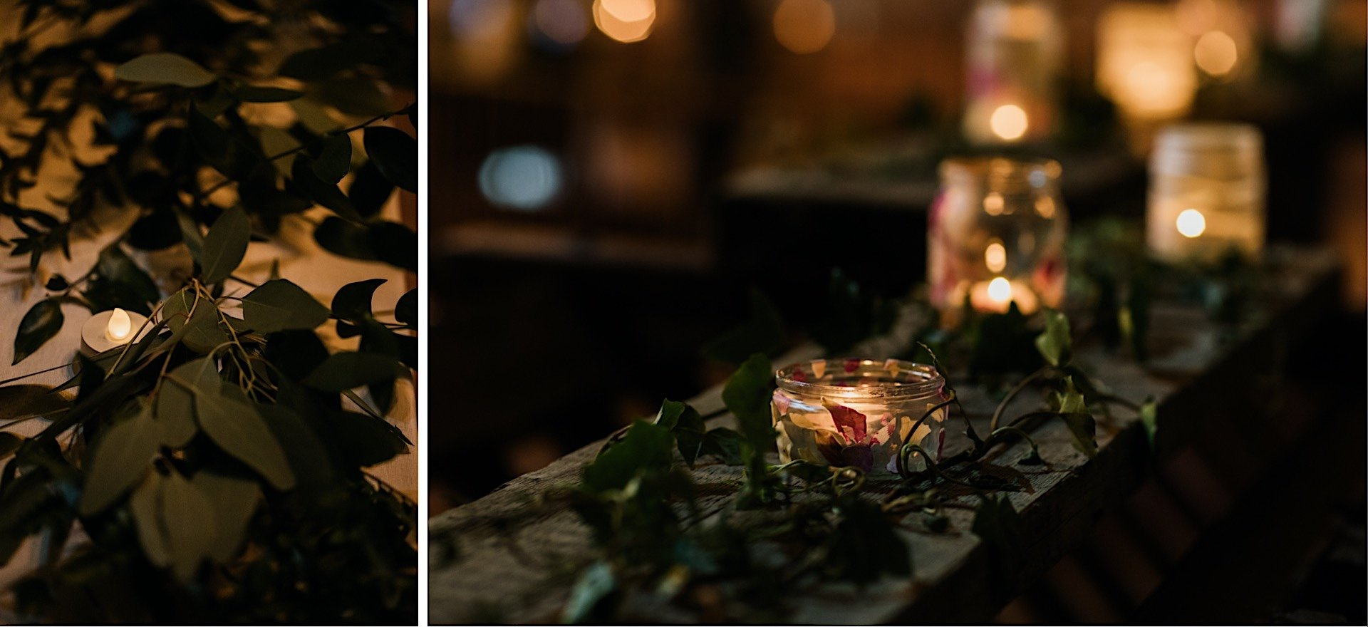 closeup of foliage candles handmade With Wedding