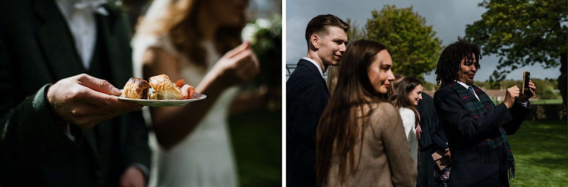 photos of taking holding canapes plate in garden guests Wedding groom