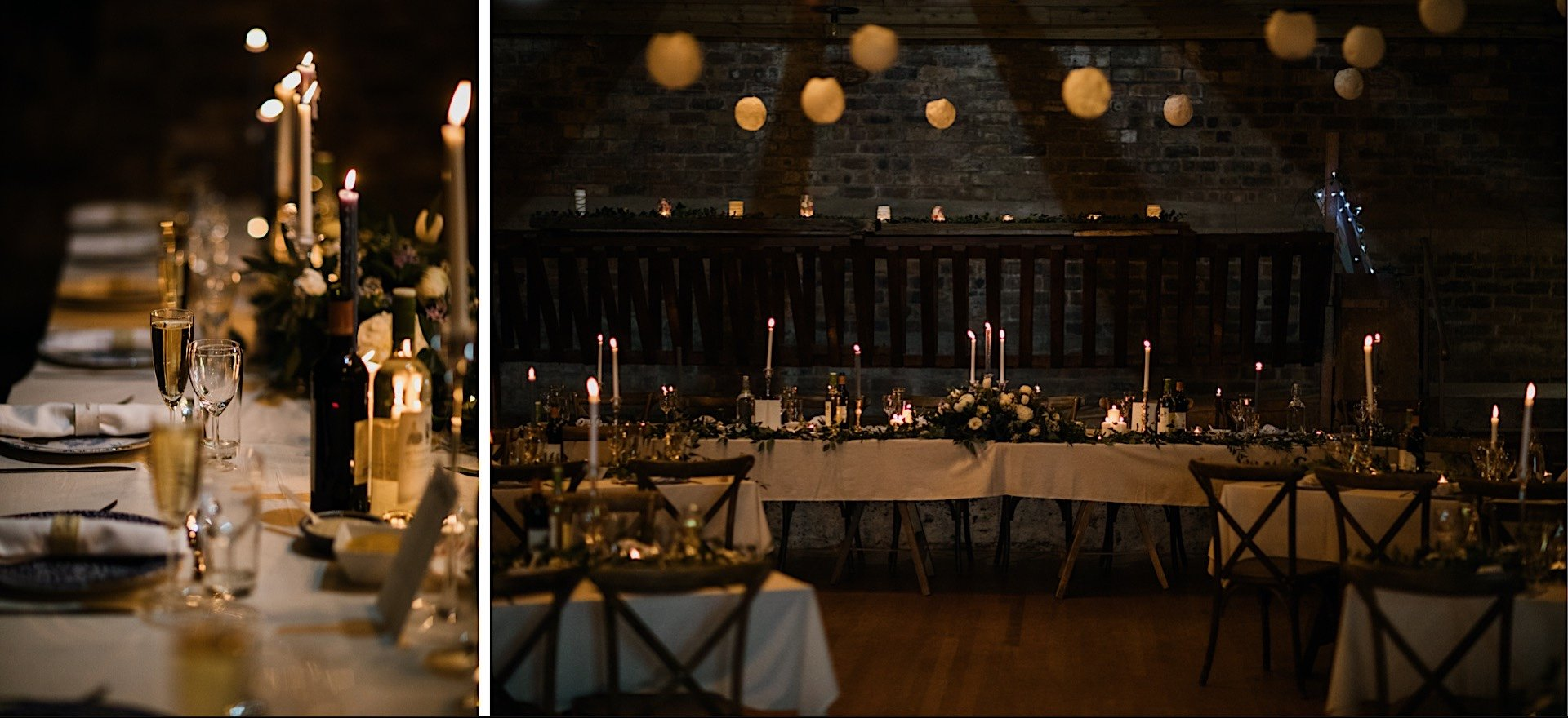 champagne meal for Rhynd setup by closeup candlelight set of table flutes at the Wedding view top